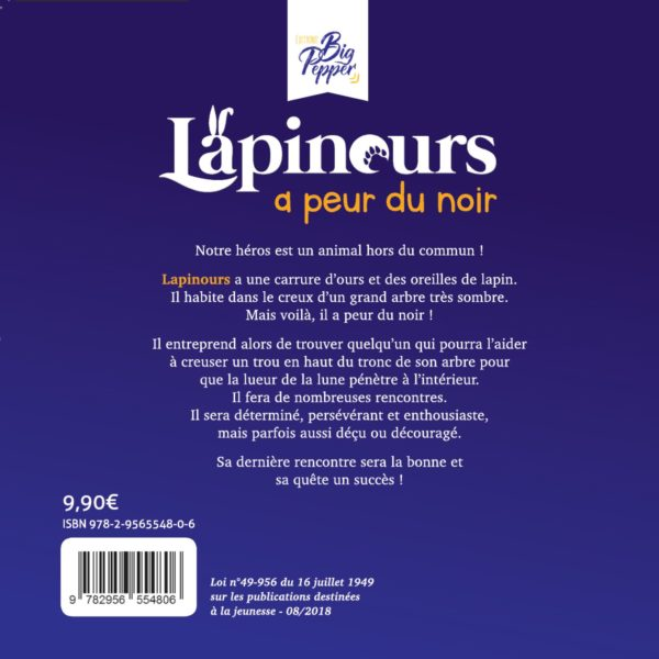 Livre dernière de Couverture Lapinours a peur du noir Alexandre Gros Atelier Le Yak Éditions Big Pepper