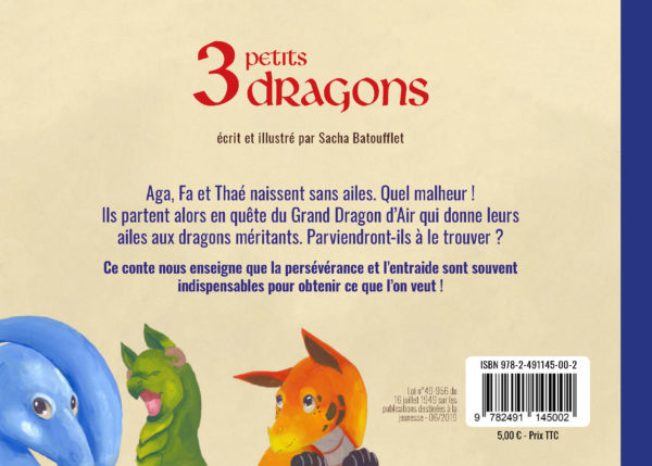 3 petits dragons les contes de sacha batoufflet éditions big pepper dernière de couverture