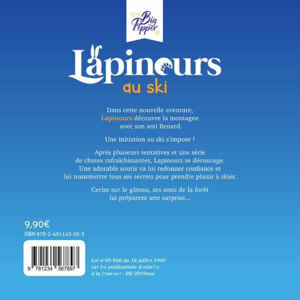 Livre dernière de couverture Lapinours au ski Alexandre Gros Atelier Le Yak Éditions Big Pepper destination ski