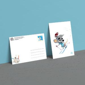 carte postale lapinours au ski Alexandre gros atelier le yak éditions big pepper