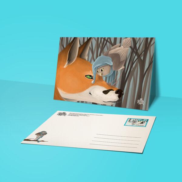carte postale lola petite chouette ne sait pas voler éditions Big Pepper illustration Sacha Batoufflet
