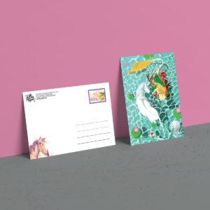 carte postale rena et les licornes éditions Big Pepper illustration Sacha Batoufflet