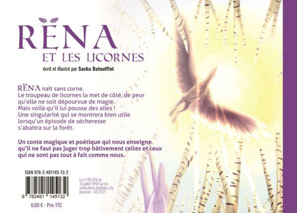 dernière de couverture Rena et les licornes sacha batoufflet éditions big pepper les contes de sacha